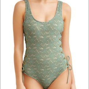 River Island Green Lace-Up Tie One-Piece Swim, 4
